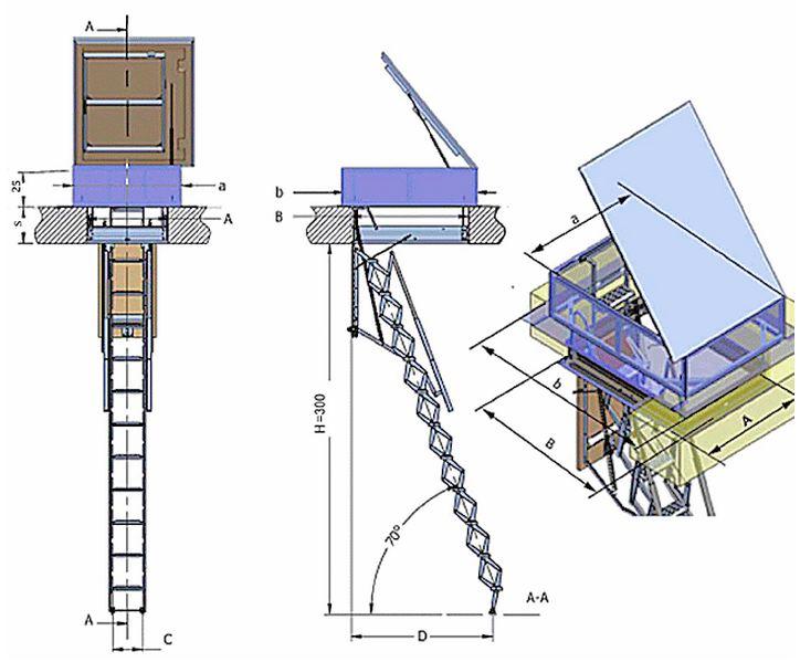 Scala retrattile a pantografo per terrazzo, scala botola, scala retrattile a scomparsa o ...