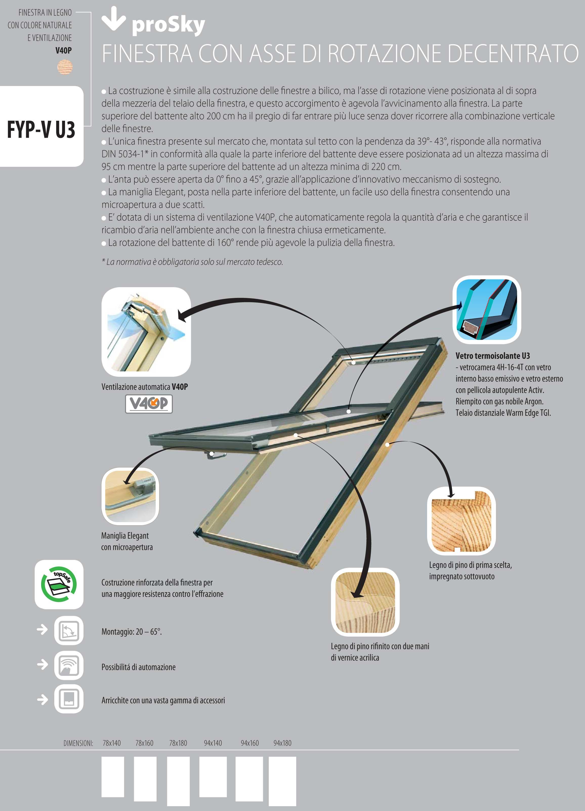 Finestra da tetto fyp v u3 prosky pino naturale apertura for Finestra sul tetto