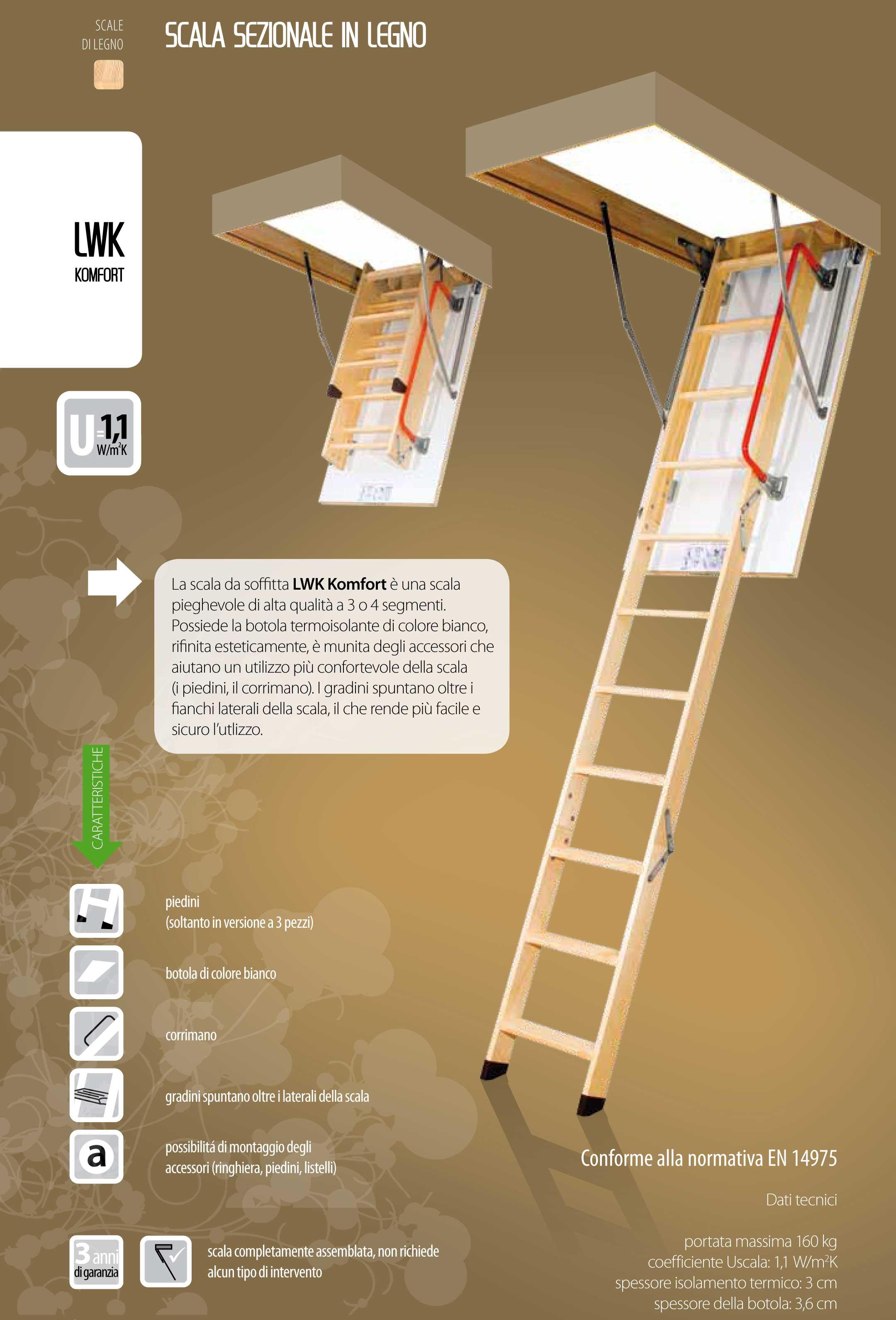 Scala retrattile a pezzi con scalini di legno modello LWK Komfort