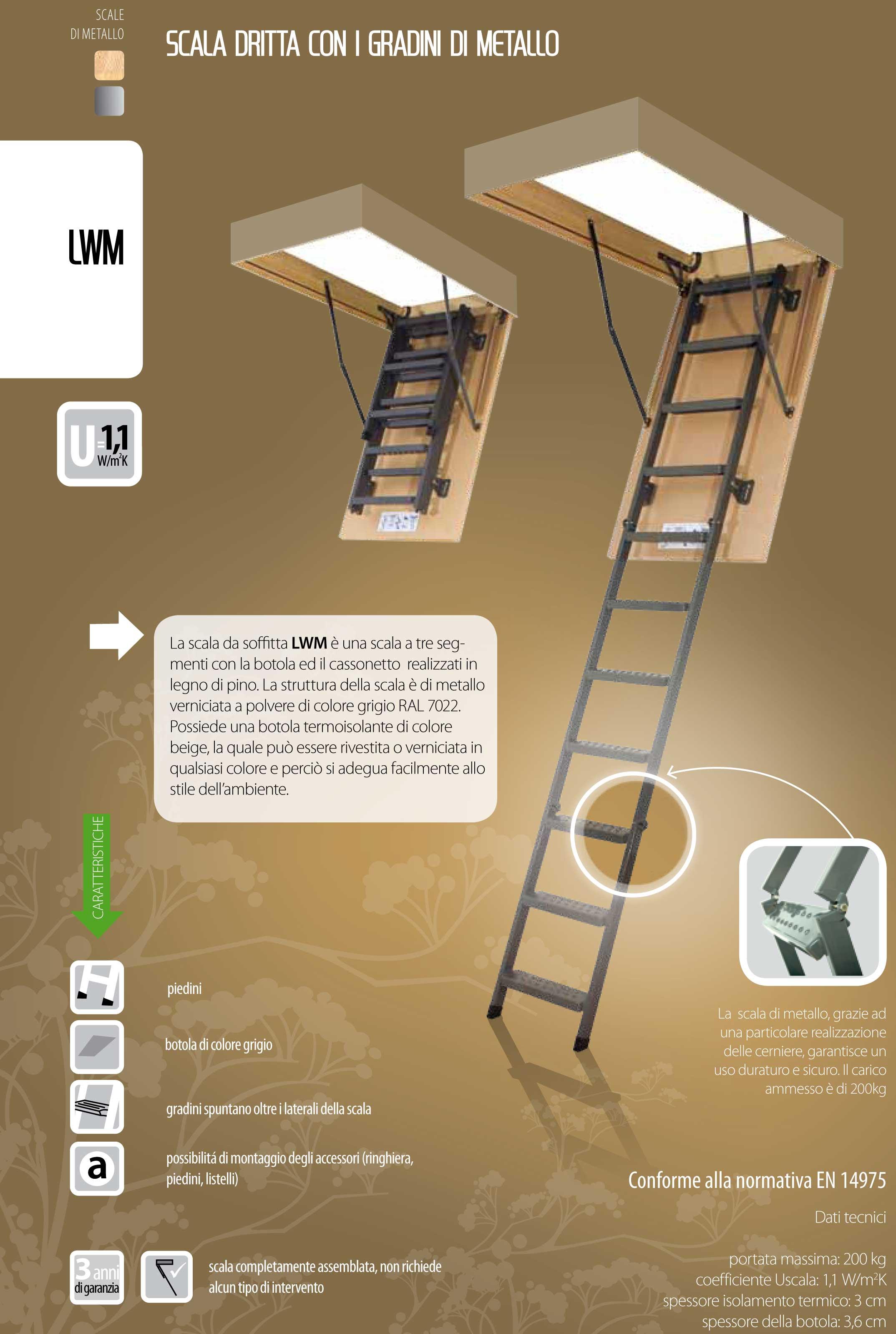 Scala retrattile a pezzi con scalini in metallo modello lms lwm - Scale a botola da soffitto ...