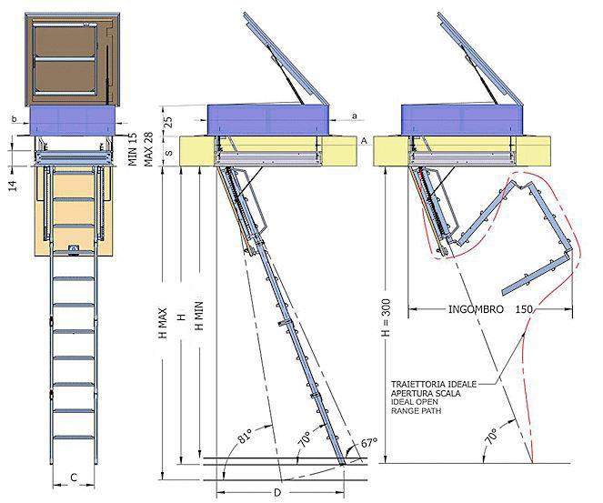 Scala retrattile a quattro pezzi a terrazzo, scala botola, scala retrattile a scomparsa o ...