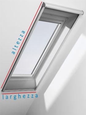 Zanzariera per finestra mansarda fibra di ceramica isolante for Tende velux misure