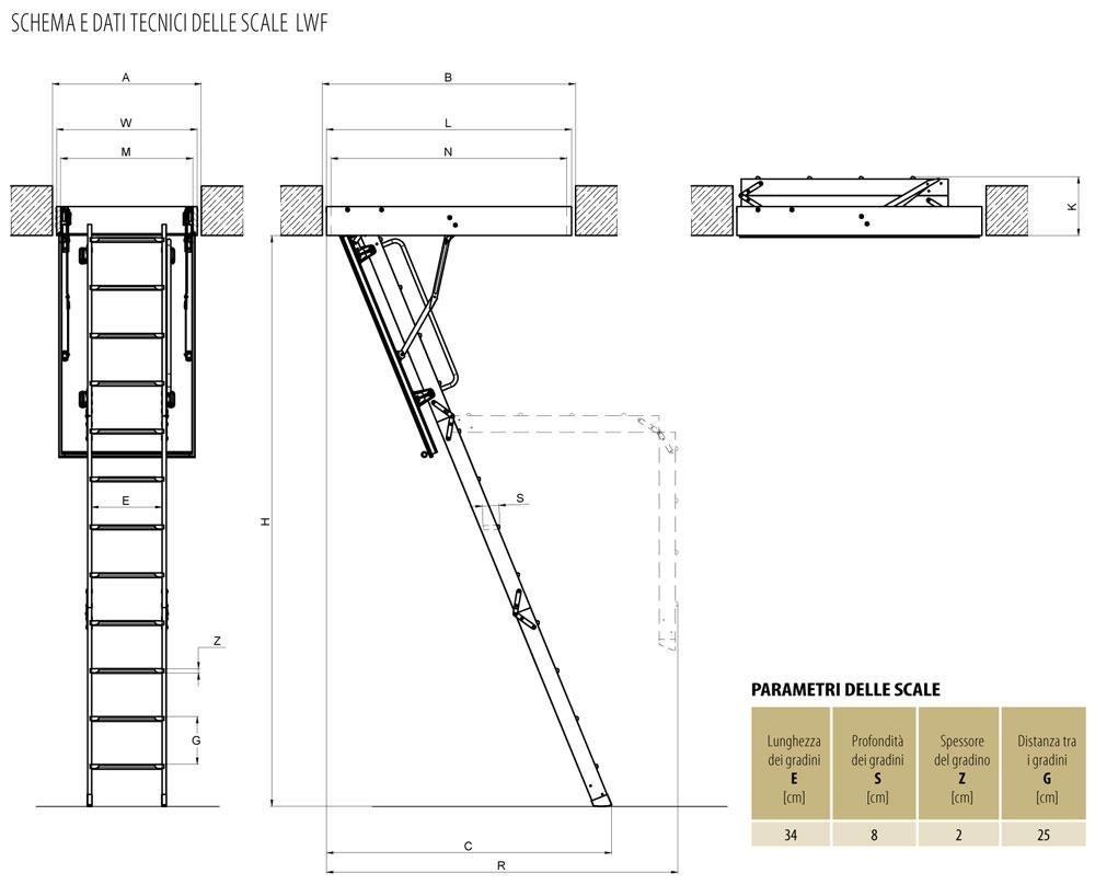 Vendita scala retrattile a pezzi con scalini di legno for Planimetria semplice con dimensioni