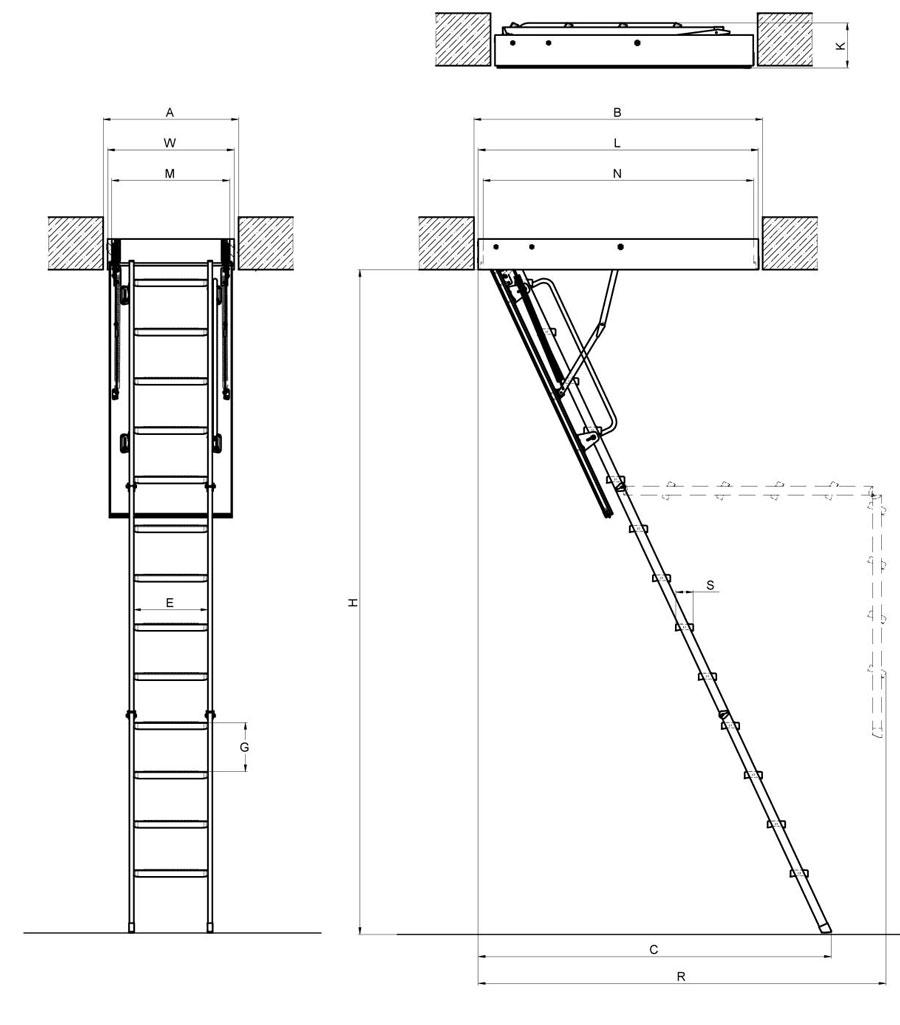 scala retrattile a pezzi con scalini in metallo modello