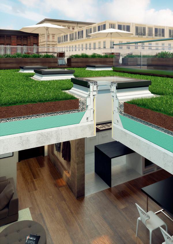 Finestra da tetto o terrazzo piano dxf fakro vendita online for Sezione tetto giardino