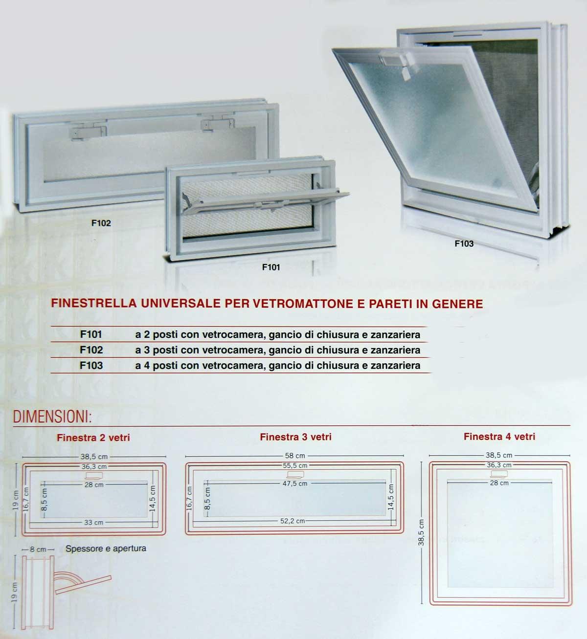 Sistema d 39 apertua per vetromattone e vetrocemento for Finestre dimensioni