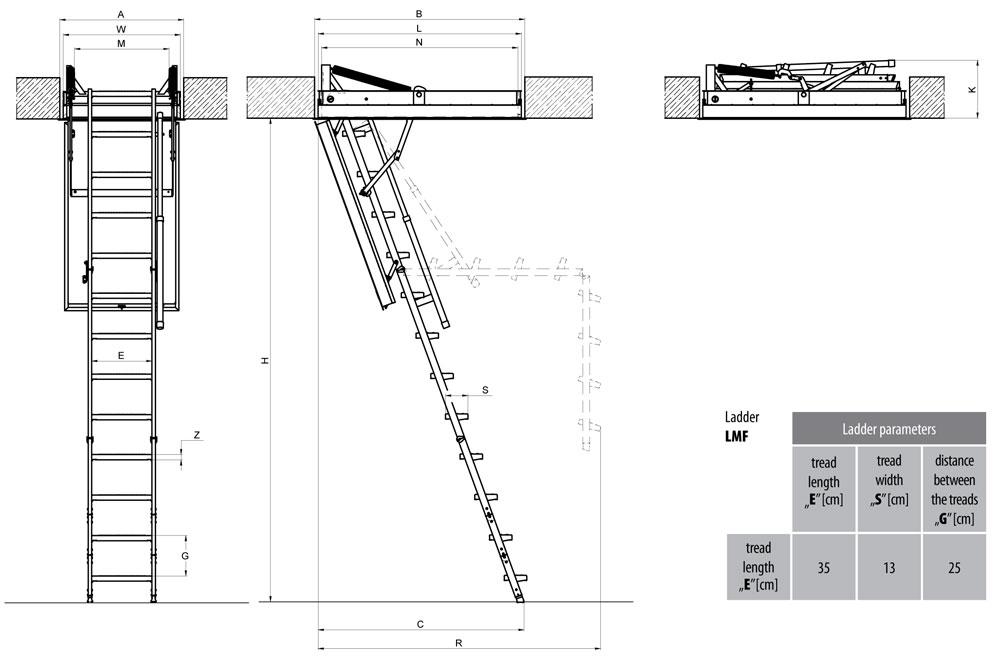 Scala retrattile rei resistente al fuoco modello lmf for Scala in legno dwg